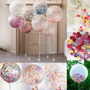 36-Дюймов-Красочные-Прозрачный-Латекс-Конфетти-Воздушные-шары-Гелиевые-Шары-Макулатуры-Свадебный-День-Рождения-Событий-Поставки